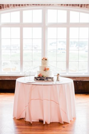Wedding cake on display at the Historic Rice Mill in Charleston, South Carolina.