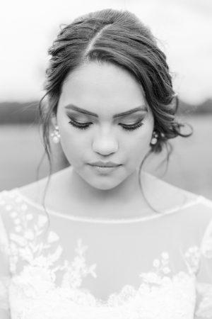 Black and white bridal portrait.