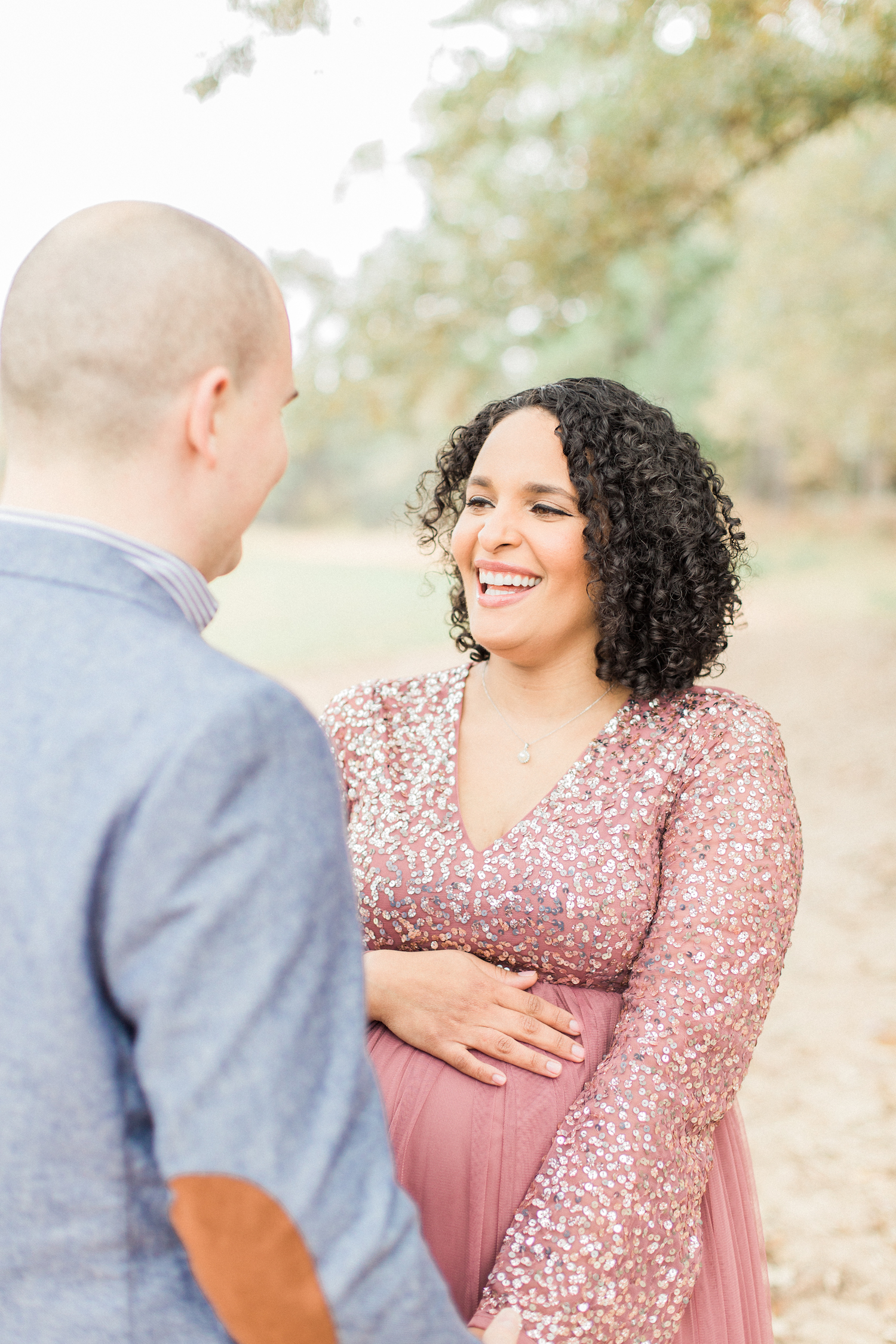 Joy filled maternity session with laughter. Romantic organic nature filled. Atlanta Fine Art Maternity Photographer.