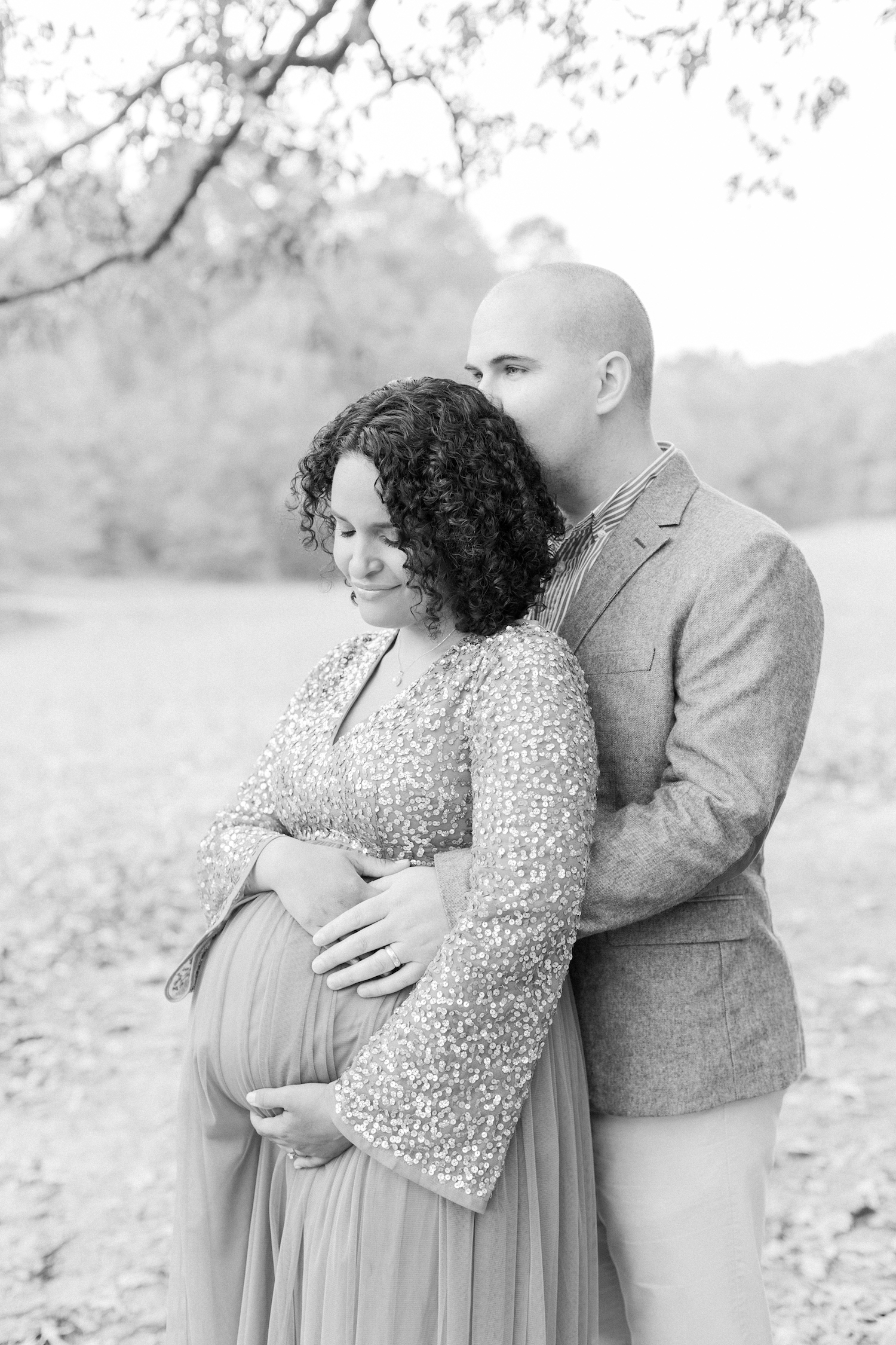 Black and white romantic maternity session photo. Atlanta Fine Art Maternity Photographer.