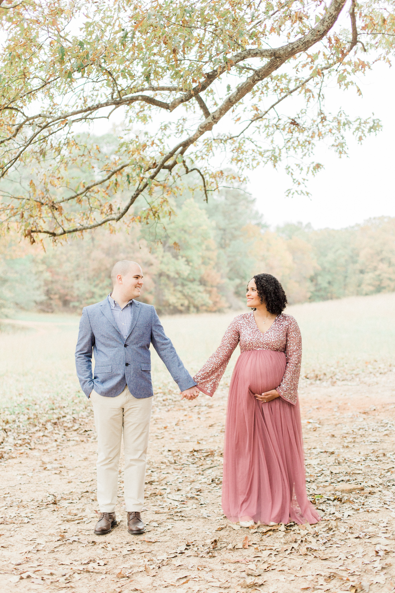 Maternity session style. Sparkly tulle mauve dress. Atlanta Fine Art Maternity Photographer.