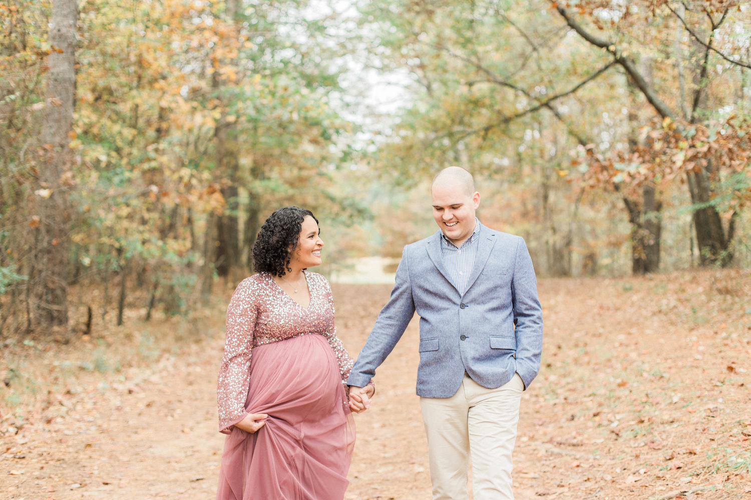 Romantic and joy filled fall maternity session wearing sparkly, tulle maternity dress from ASOS. Atlanta Fine Art Maternity Photographer.