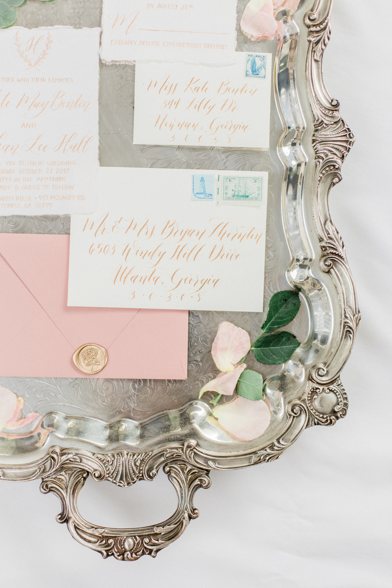 Pink blush gold and white wedding invitation suite. Gold lettering and stamp. Pink blush envelopes.