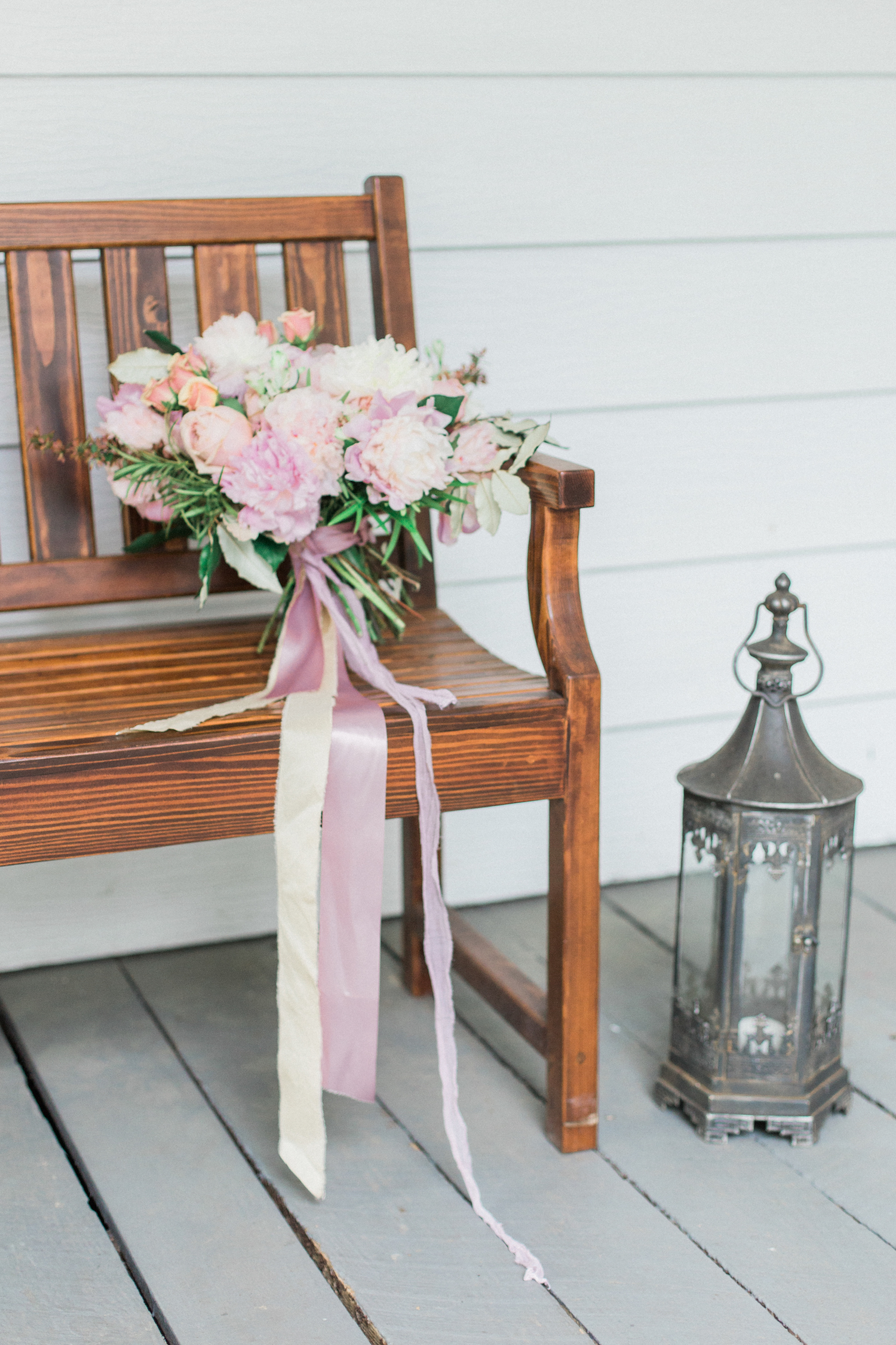 Mauve silk ribbon on pink mauve and blush wedding bouquet.