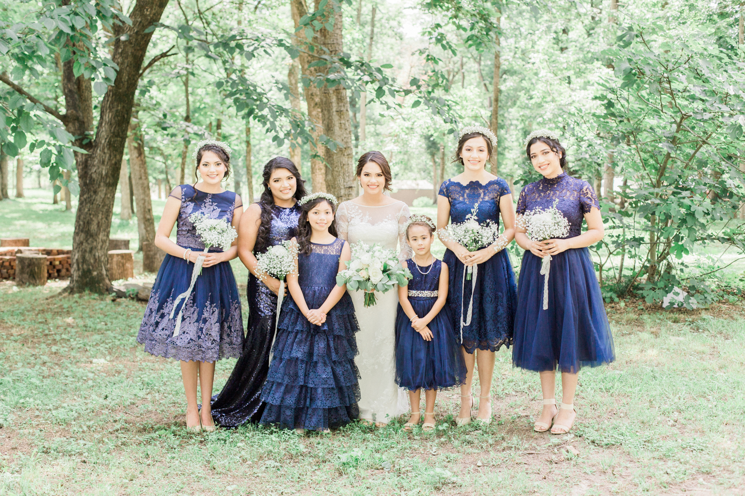 Navy blue bridesmaid dresses. Summer, outdoor, barn wedding in north Georgia at Hays McDonald Farm in Jefferson, Georgia. Photo by Kesia Marie Photography - Fine Art Wedding Photographer.