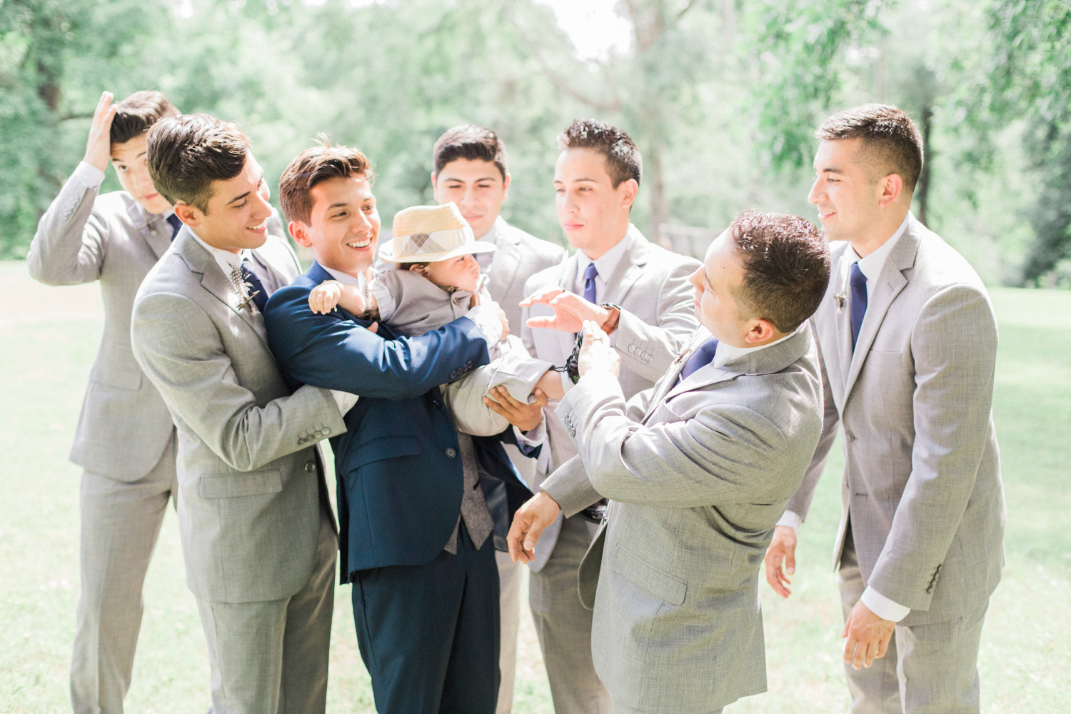 Groom and groomsmen. Summer, outdoor, barn wedding in north Georgia at Hays McDonald Farm in Jefferson, Georgia. Photo by Kesia Marie Photography - Fine Art Wedding Photographer.