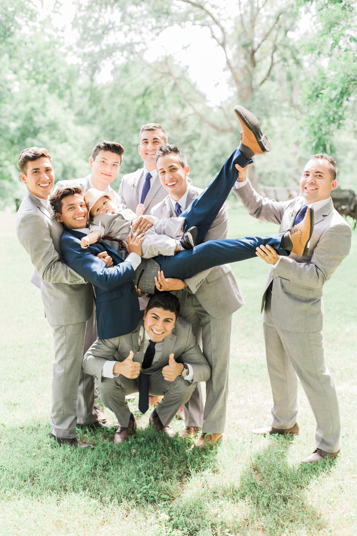 Groom and groomsmen. Summer, outdoor, barn wedding in north Georgia at Hays McDonald Farm in Jefferson, Georgia. Photo by Kesia Marie Photography- Fine Art Wedding Photographer.