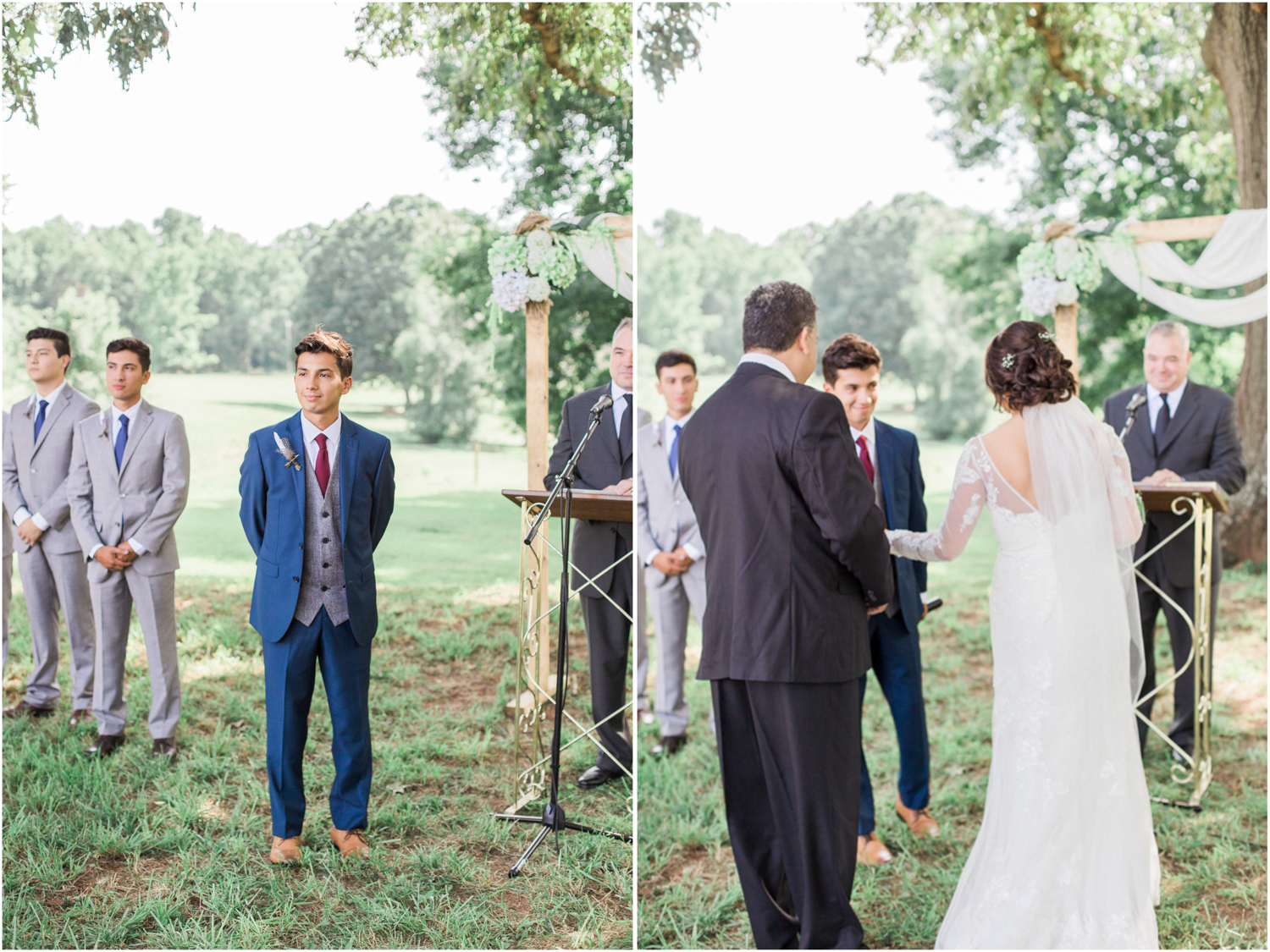 Groom's ceremony expression and father-of-the-bride walking bride down the aisle during outdoor wedding ceremony. Summer, outdoor, barn wedding in north Georgia at Hays McDonald Farm in Jefferson, Georgia. Photo by Kesia Marie Photography- Fine Art Wedding Photographer.