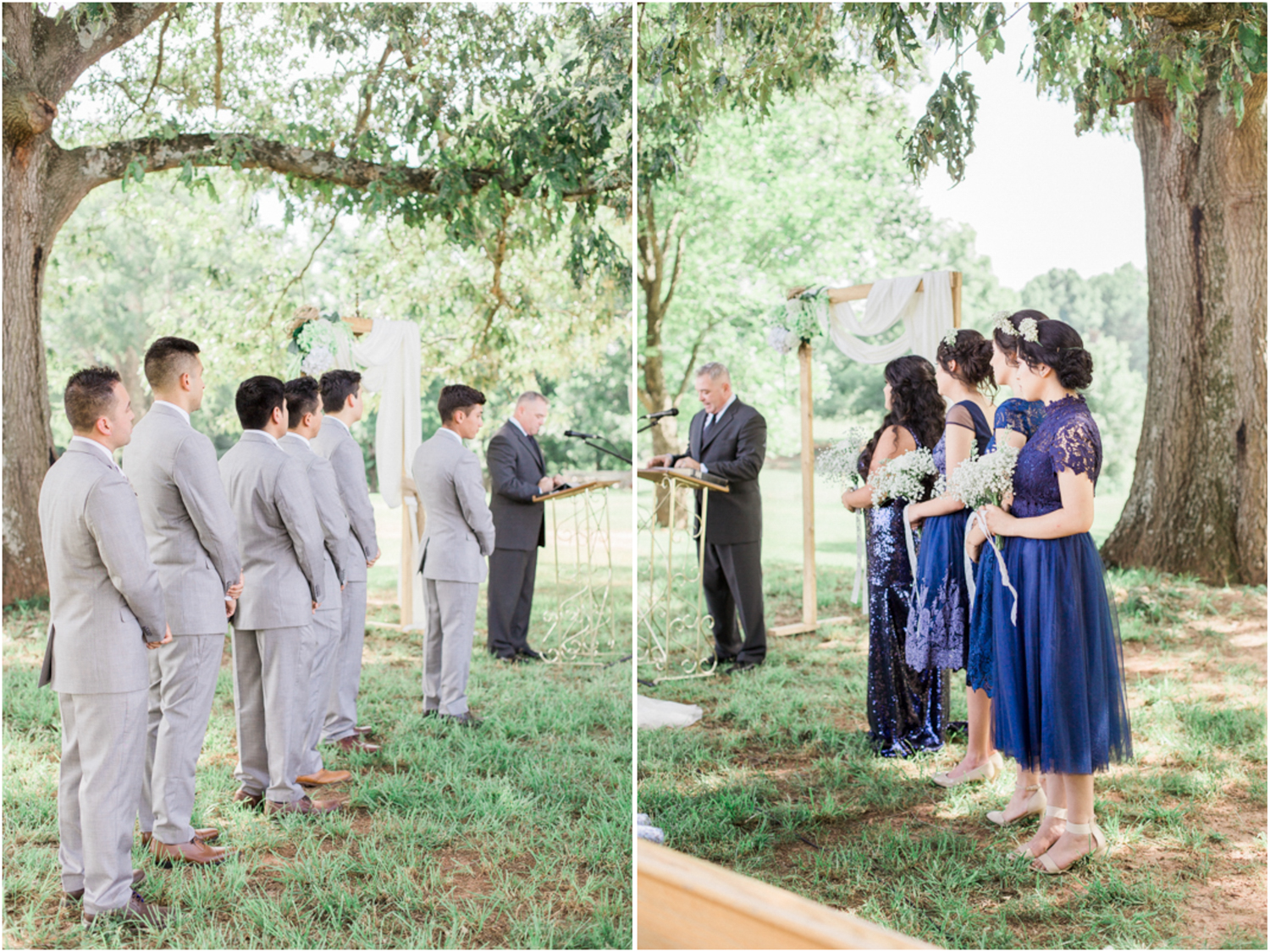 Groomsmen and bridesmaids, wedding party, during outdoor wedding ceremony. Summer, outdoor, barn wedding in north Georgia at Hays McDonald Farm in Jefferson, Georgia. Photo by Kesia Marie Photography- Fine Art Wedding Photographer.