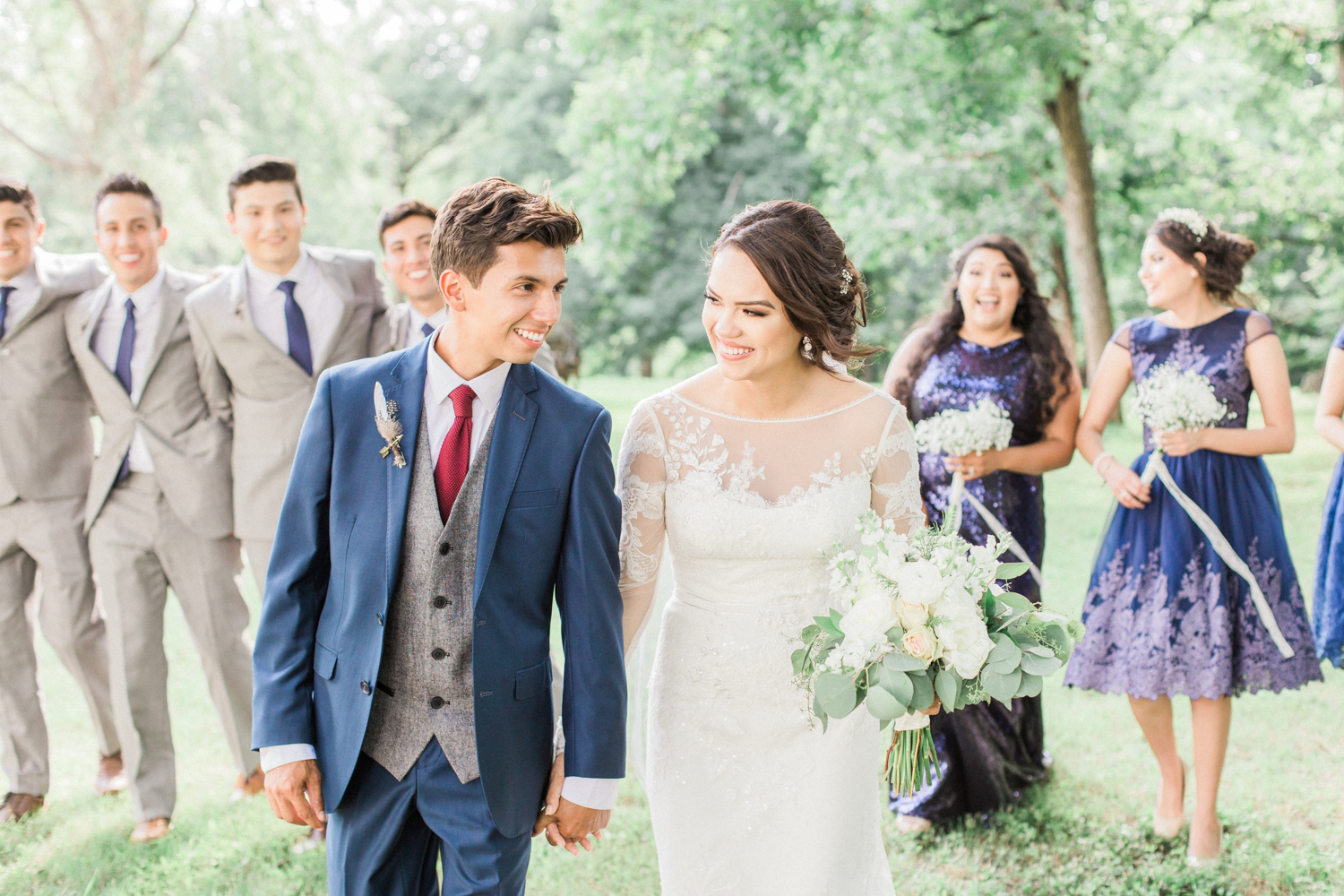 Bride, groom, and bridal party. Summer, outdoor, barn wedding in north Georgia at Hays McDonald Farm in Jefferson, Georgia. Photo by Kesia Marie Photography - Fine Art Wedding Photographer.