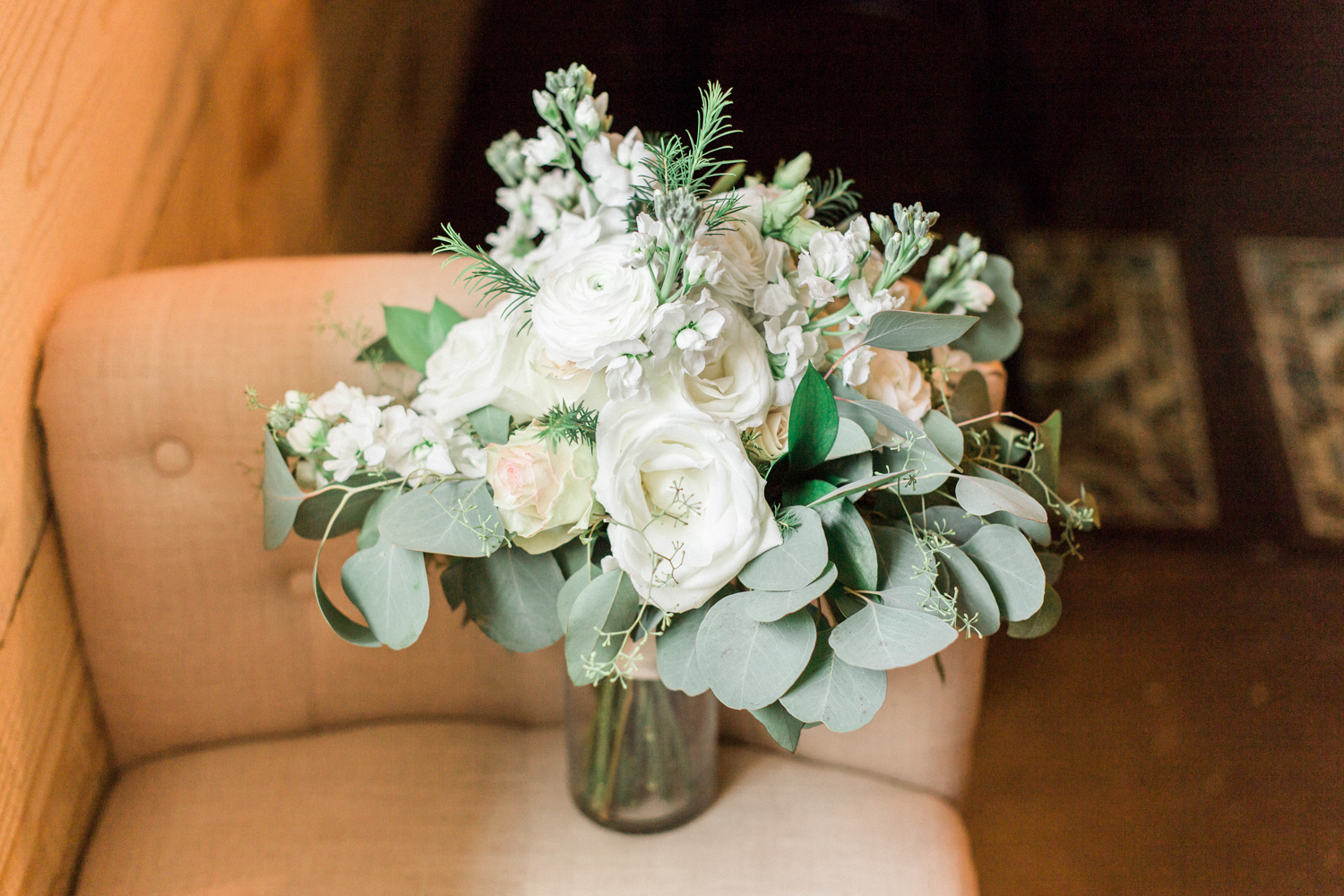 White wedding bouquet with eucalyptus. Summer, outdoor, barn wedding in north Georgia at Hays McDonald Farm in Jefferson, Georgia. Photo by Kesia Marie Photography - Fine Art Wedding Photographer.