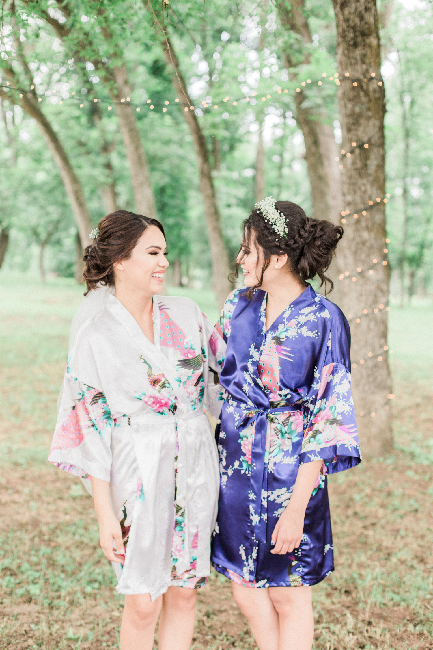 Getting ready wedding photo- bride and her best friend in their Japanese floral robes. Summer, outdoor, barn wedding in north Georgia at Hays McDonald Farm in Jefferson, Georgia. Photo by Kesia Marie Photography - Fine Art Wedding Photographer.