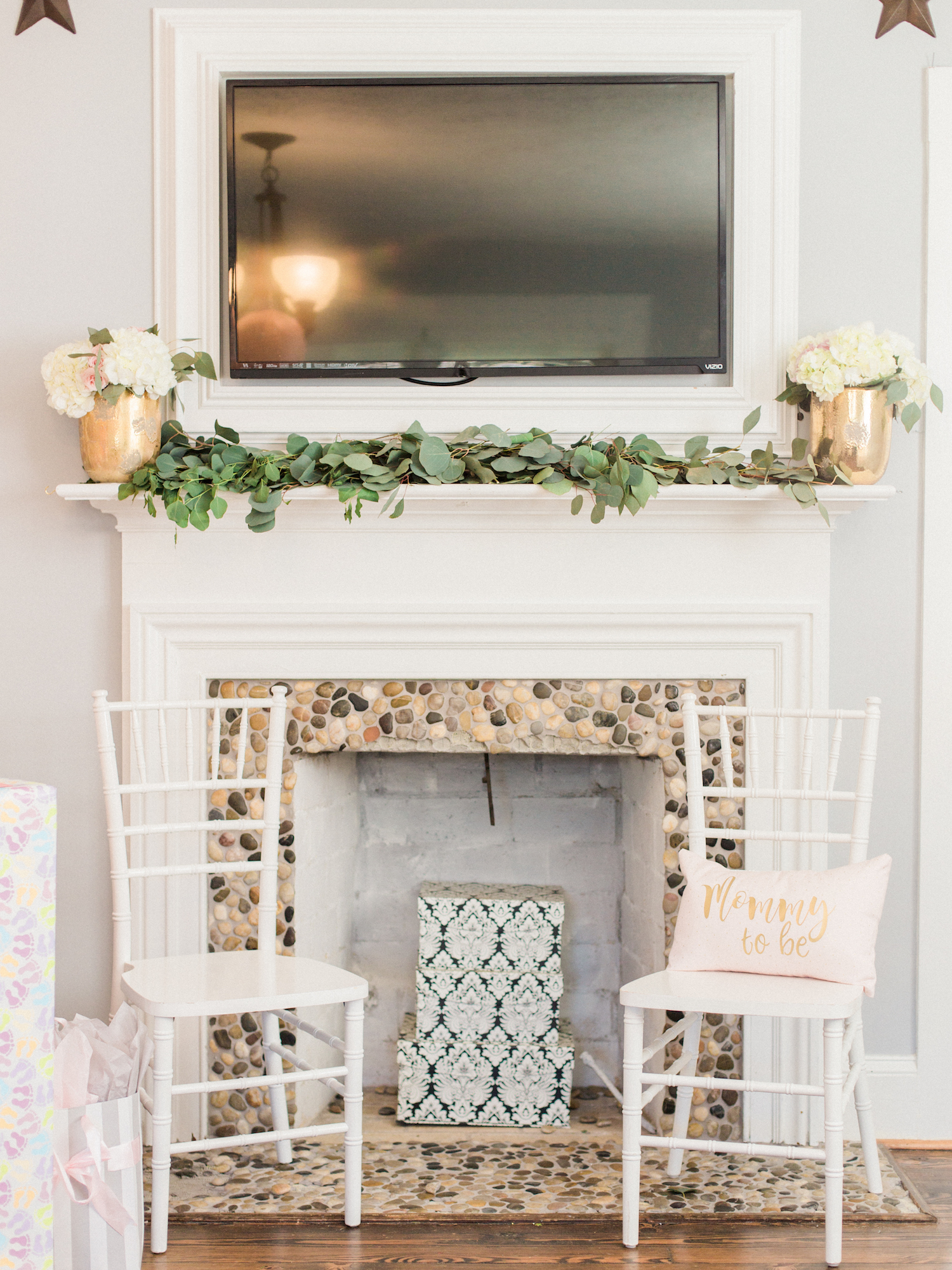 Mommy to be pillow. Mantel decor. White chiavari chairs. Baby shower at The Gilbert House.
