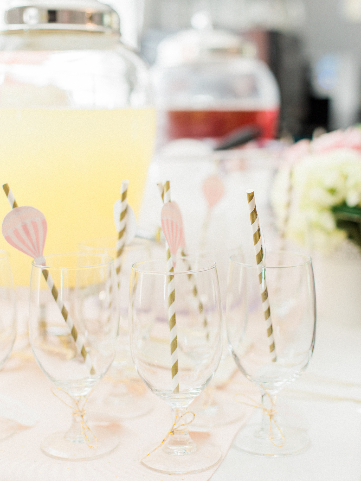 Hot air balloon straws. Drink station at a baby shower.