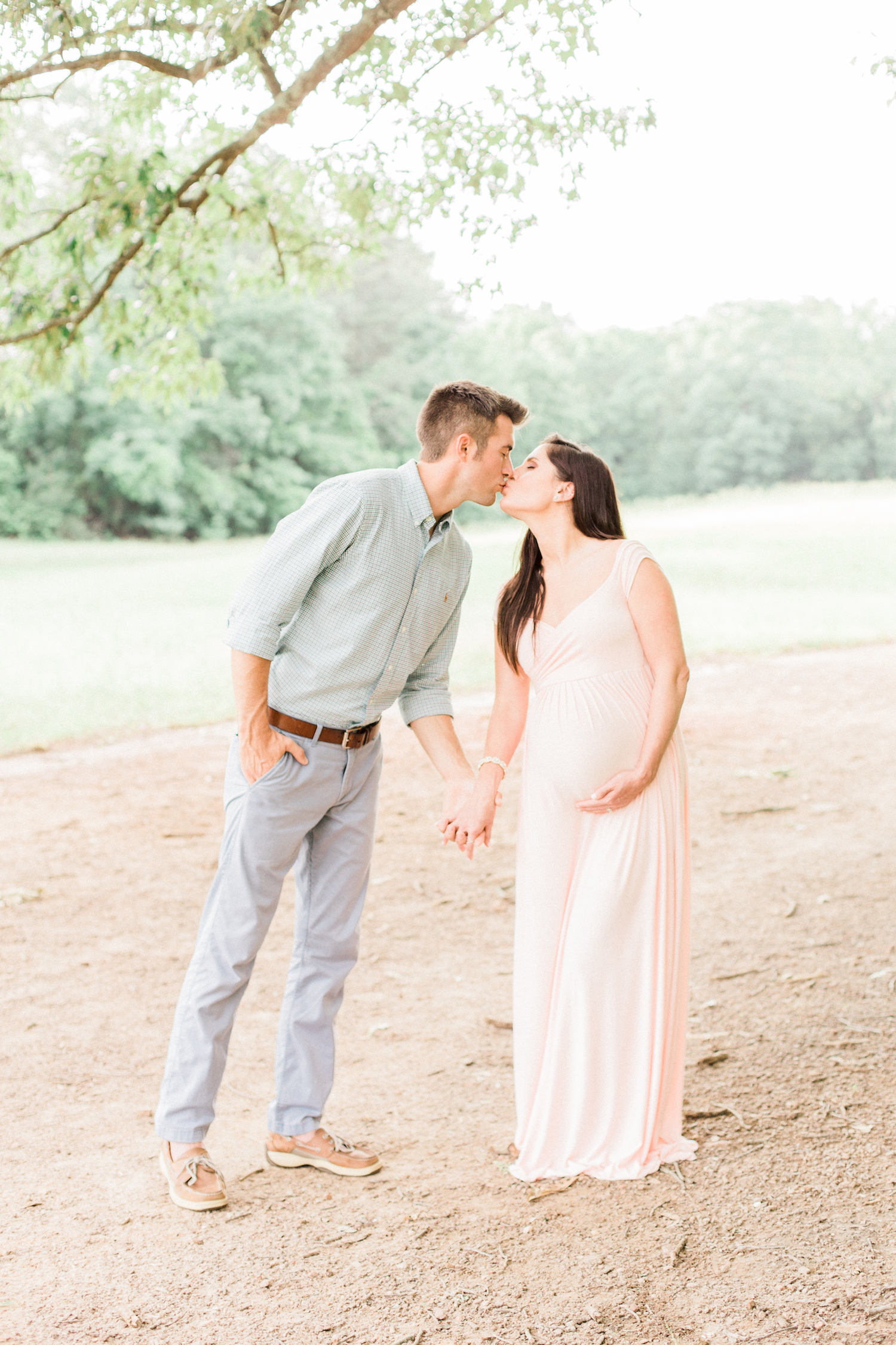 Baby girl family session, blush maternity dress.
